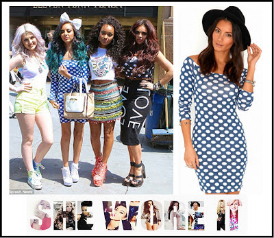 Blue, Bodycon, Dress, Jade Thirlwall, Little Mix, Mini Dress, Missguided, Off Shoulder, Polka Dot Print, White,