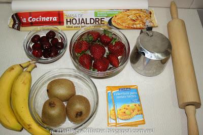 Tarta de frutas y crema pastelera ingredientes