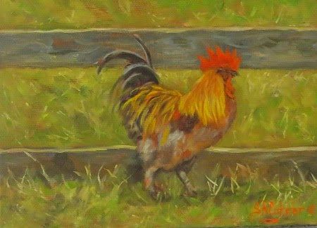 """Rooster Strut"" , small original oils- SOLD!"