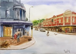 #artist #fineart #new zealand #city #town #village #watercolor #watercolorpainting #watercolour #watercolourpainting #people #animals #streets #shop #cars