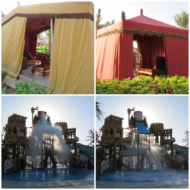 Cabanas and Big Bucket at Yas Waterworld