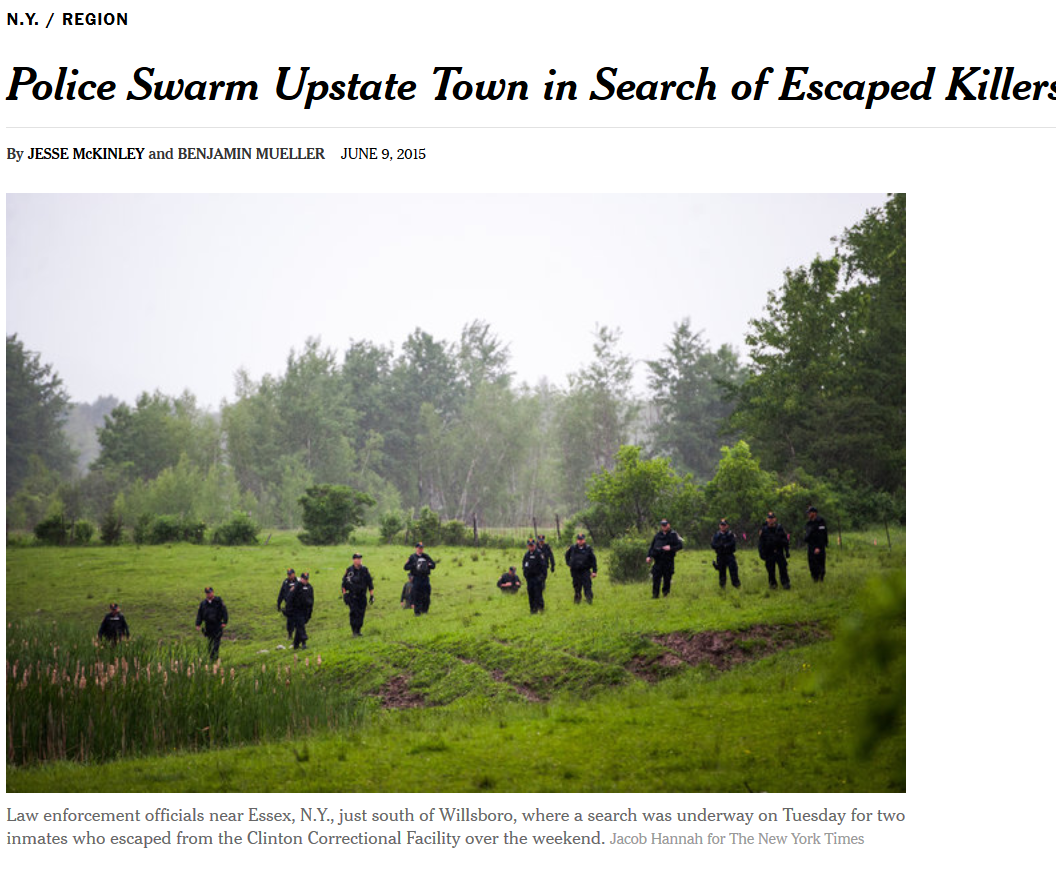 JULIA SPENCER FLEMING 2 INMATES REMAIN AT LARGE AFTER ESCAPE UPSTATE FACILITY Reads The New York Times Headline Im Sure Folks In Northern