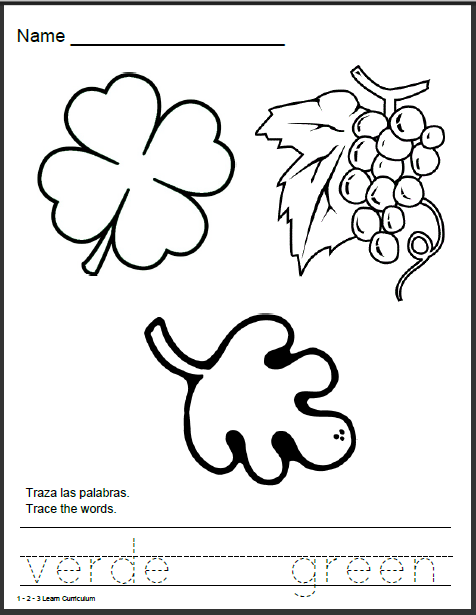 1 - 2 - 3 Learn Curriculum: Spanish Color Worksheets