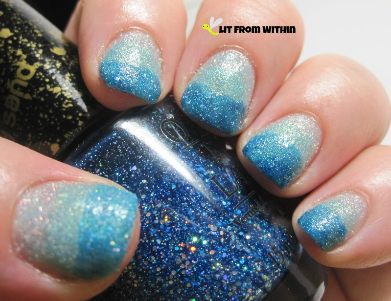 OPI Get Your Number, a medium blue sparkly texture