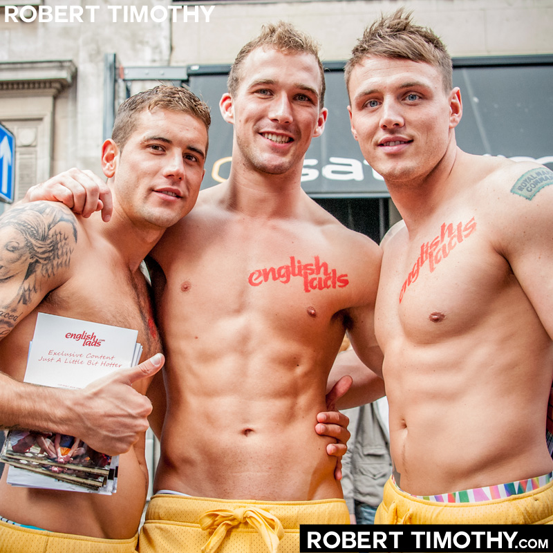 Models from adult website EnglishLads at World Gay Pride celebrations on Old Compton Street in London
