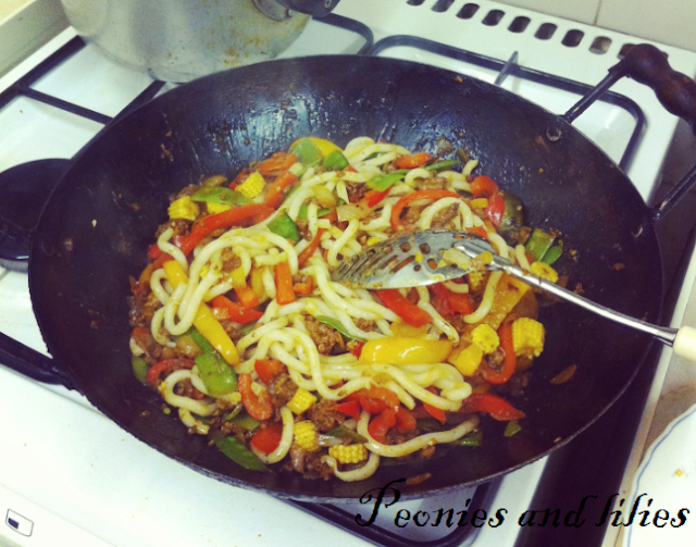 Beef noodle stir fry, Udon noodle recipe, Chinese food
