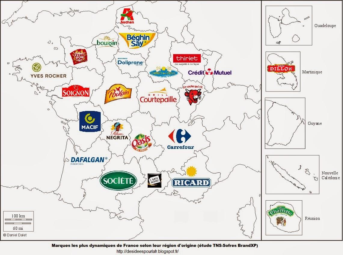 Marques les plus dynamiques de France par région d'origine