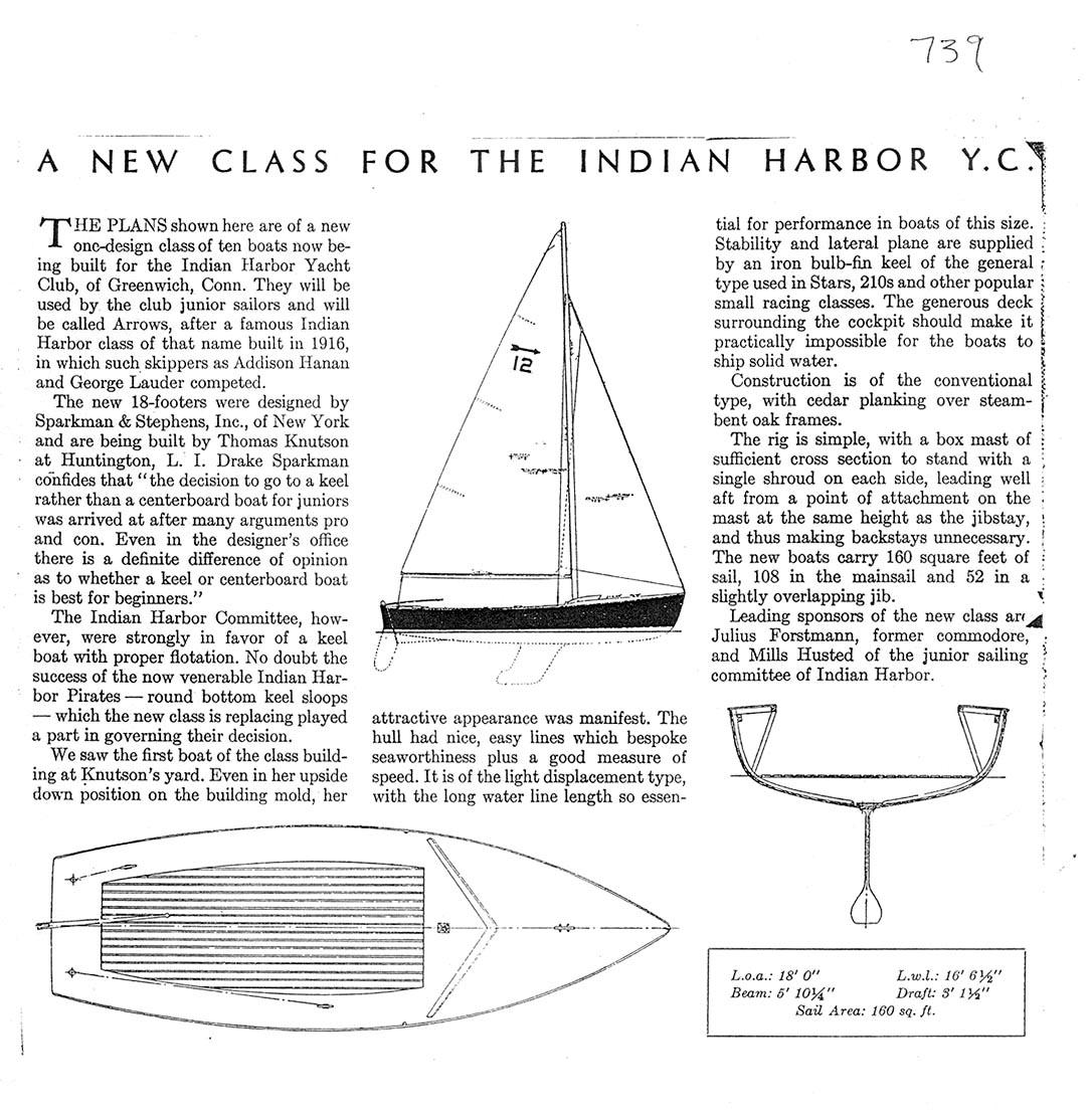 Arrow Or Classroom Design Definition : Sparkman stephens design indian harbor arrow class