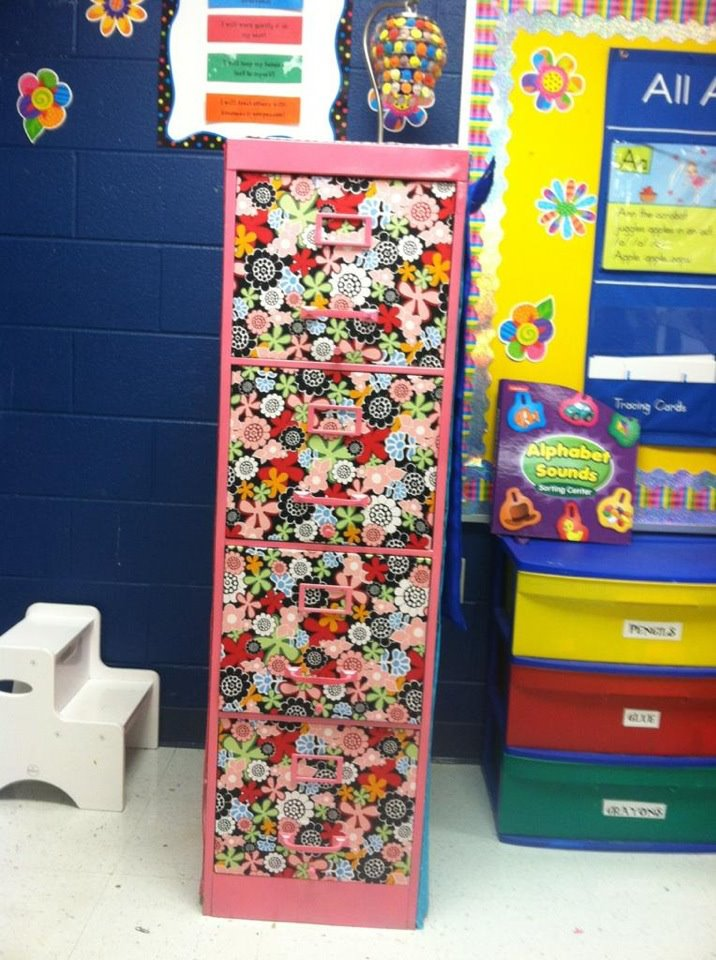 Johnna Harrisu0027 File Cabinet Created With Fabric And Spray Adhesive. She Used