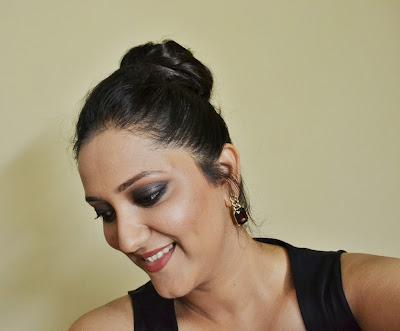 Indian black smokey eye party makeup