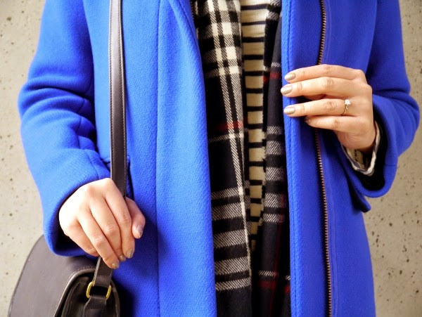 Details: cobalt blue, plaid, stripes