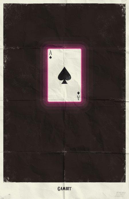 marko manev ilustração poster minimalista super heróis marvel Gambit