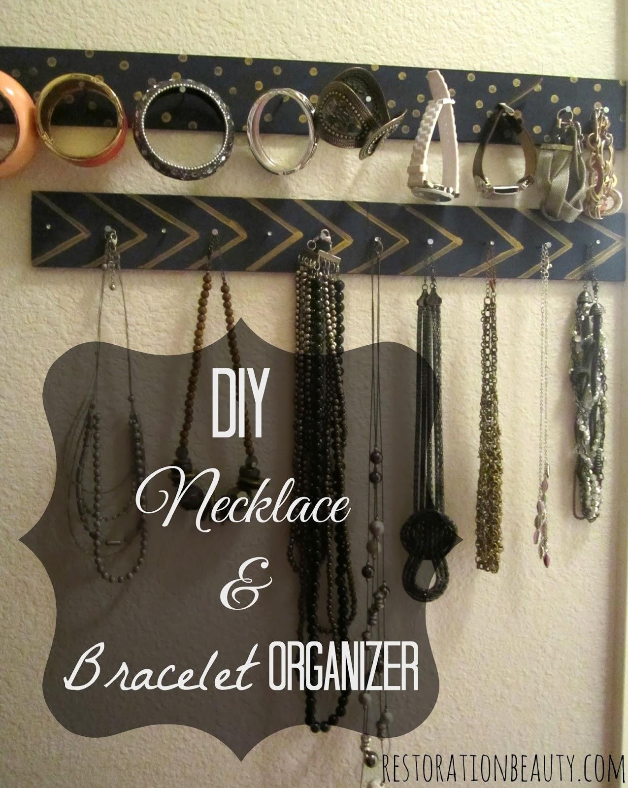 Restoration beauty diy necklace bracelet organizer for Bangle organizer diy