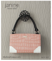 Miche Bag Janine Classic Shell, Pink and White Croc Purse