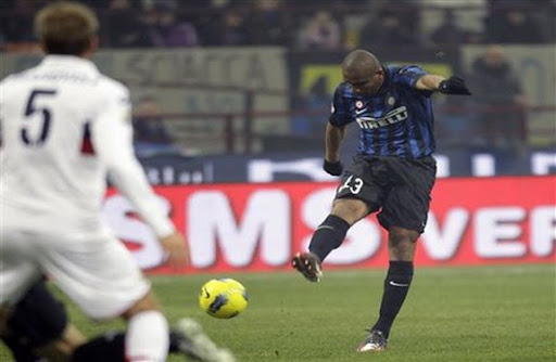 Inter Milan player Maicon shoots from long range to score against Genoa