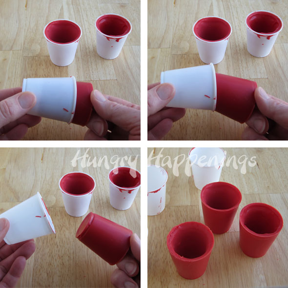 santa suit candy cups filled with christmas candy