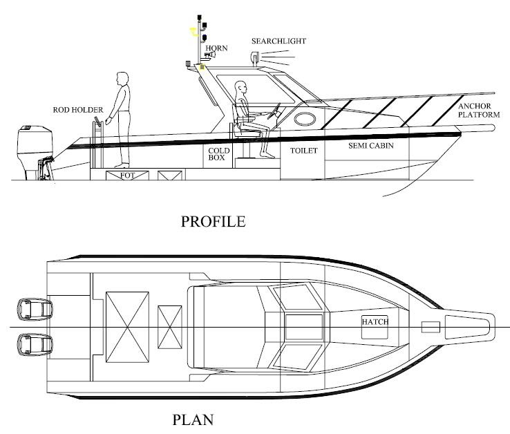 Catamaran fishing boat design plans | buat boat