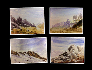Small water colour study works created by Manju Panchal