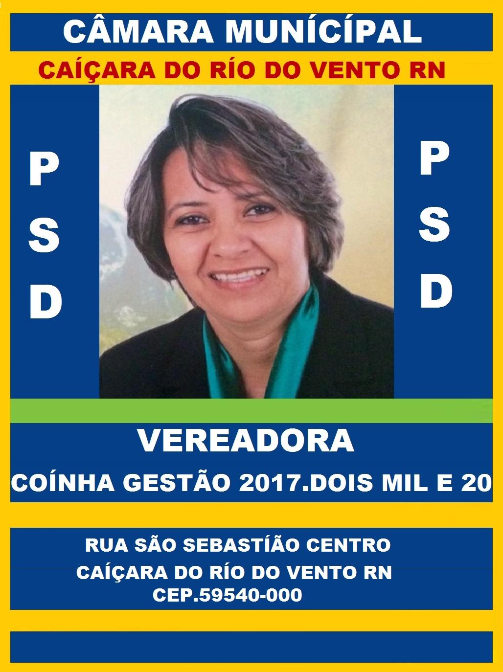 VEREADORA COINHA CAIÇARA DO RIO DO VENTO RN