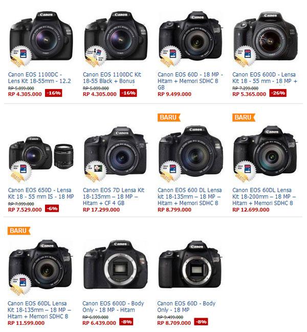terbaru april 2013 daftar harga kamera dslr canon april 2013