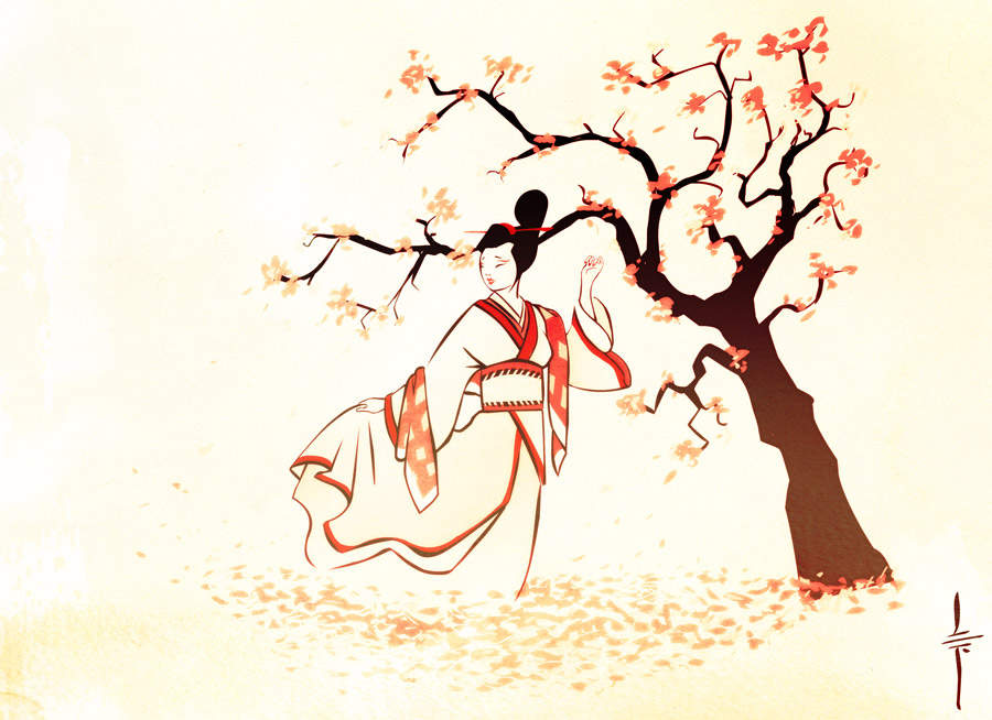 dibujo mujer japonesa y cerezo