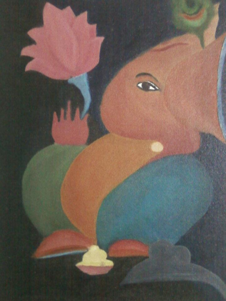 Lord Ganesha Oil Paintings my First Oil Painting Lord