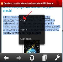 copy text using operamini