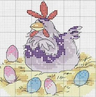 Gráficos para bordado de galinhas, galos e pássaros