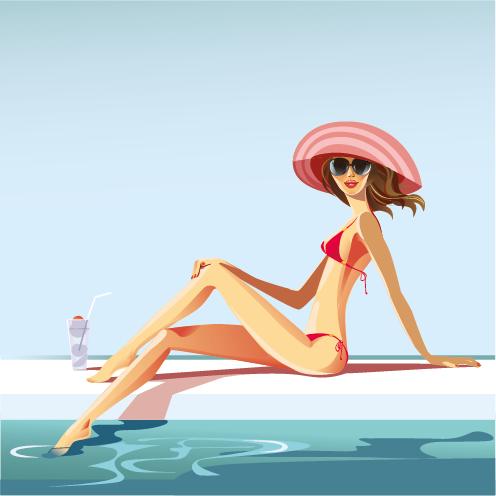 mujer en la piscina - vector