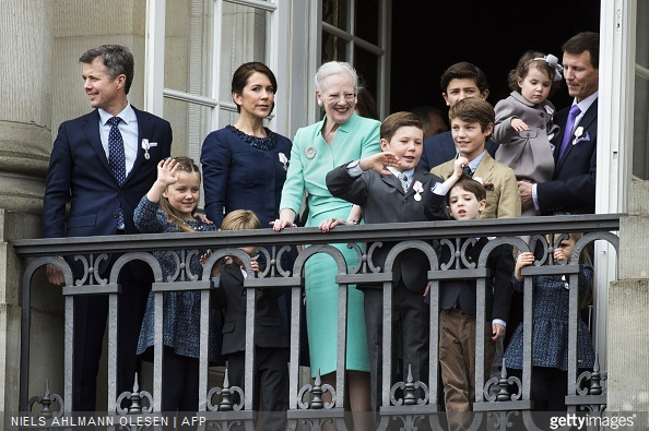 Queen Margrethe of Denmark, Crown Prince Frederik, Princess Isabella, Crown Princess Mary, Prince Vincent, Prince Christian, Prince Nikolai, Prince Felix, Prince Henrik, Princess Athena, Prince Joachim and Princess Josephine greet the crowd from the balcony at Amalienborg Palace
