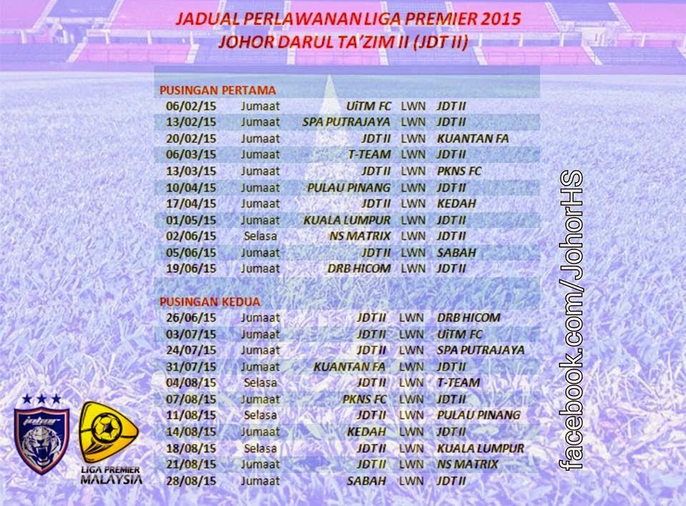 Jadual Liga Perdana Premier 2015