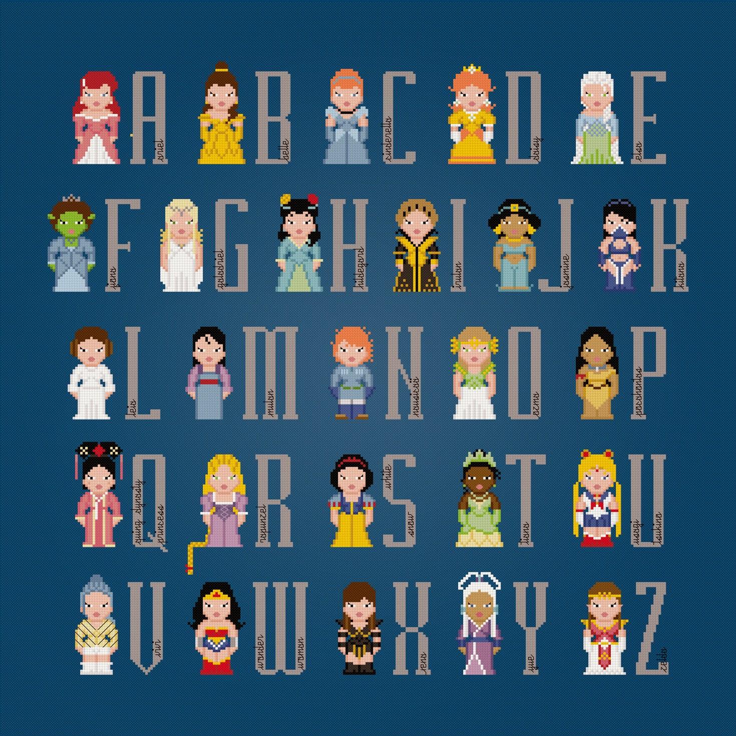 Princess Alphabet - Cross Stitch PDF Pattern Download