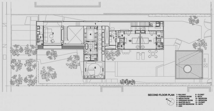 First floor plan of the Luxury modern family home in Venice, California