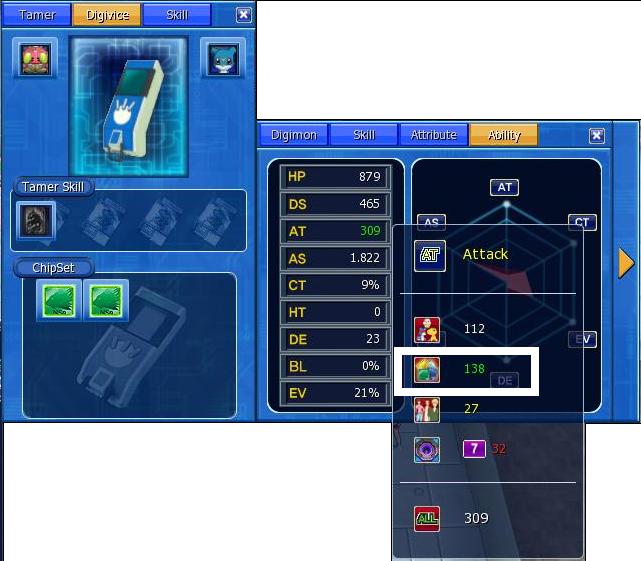 digimon masters online digivice, stat, status