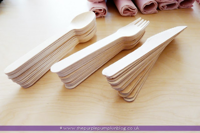 Cutlery & Napkin Bundles for a Baby Shower at The Purple Pumpkin Blog