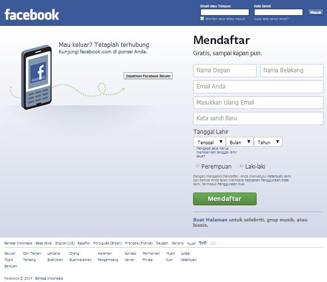 Cara Membuat FB Baru