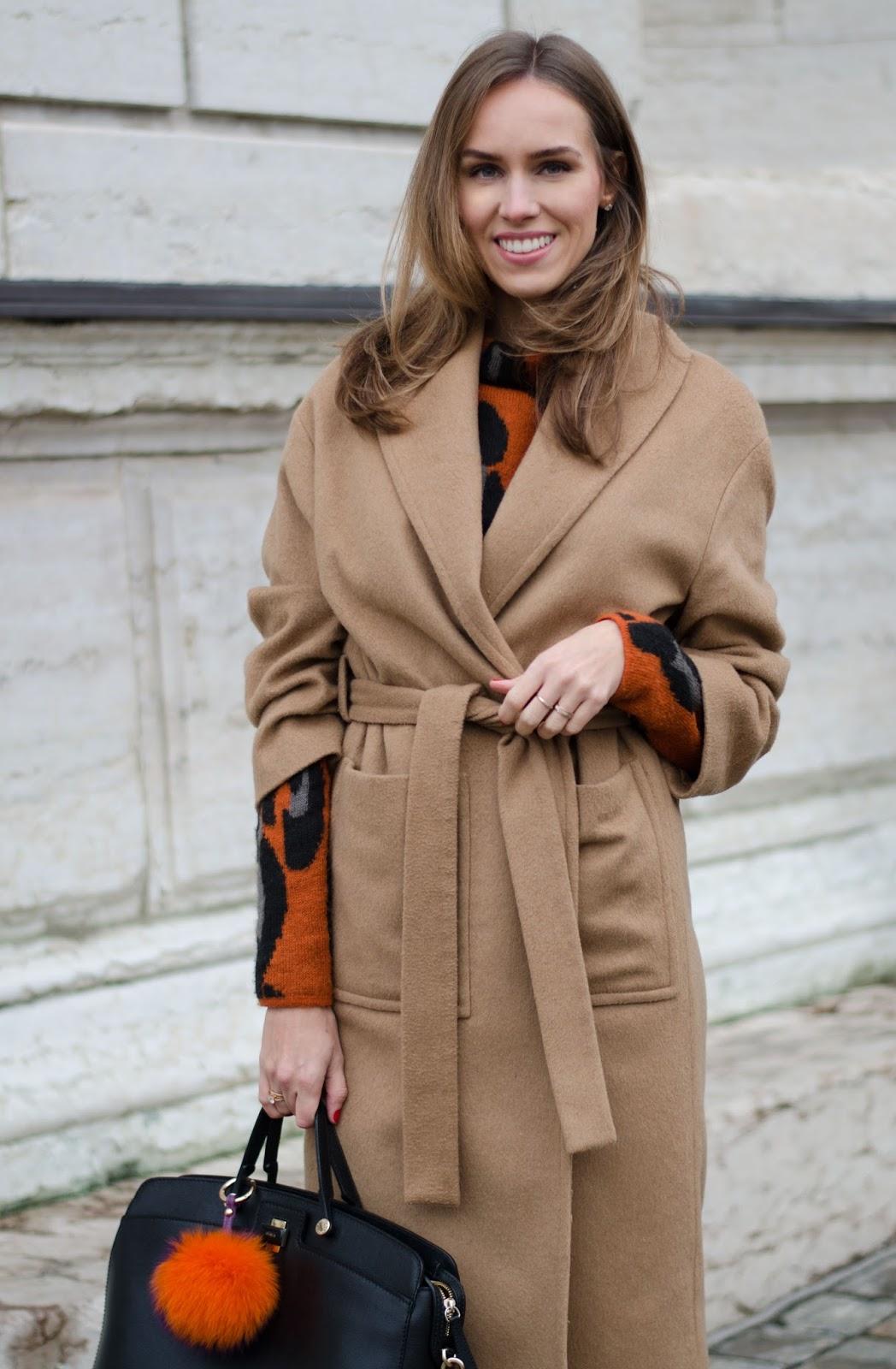 kristjaana mere mango camel coat leopard print sweater winter style