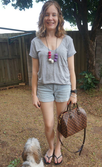 casual grey tee and shorts wardrobe detox SAHM outfit LV Speedy B