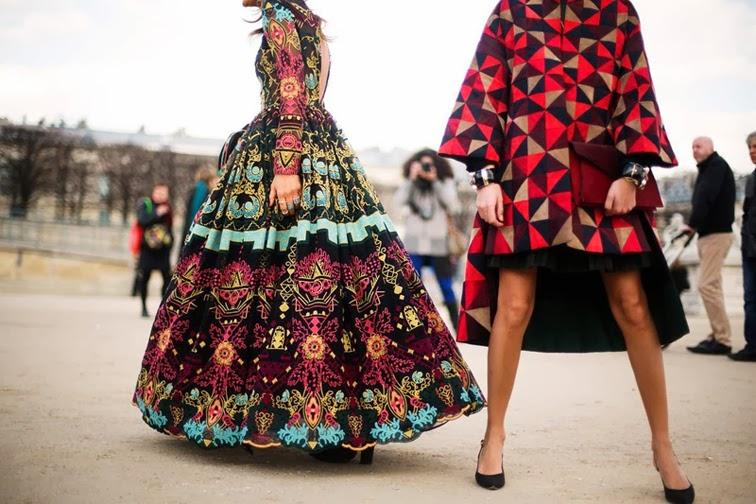 Paris fashion week street style, PFW, Giovanna Battaglia, graphic print, Anna Dello Russo, folkloric gown