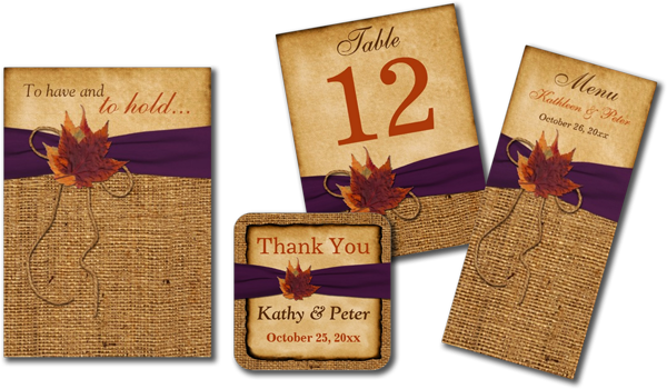 Autumn Leaves, Faux Burlap Wedding Invitations