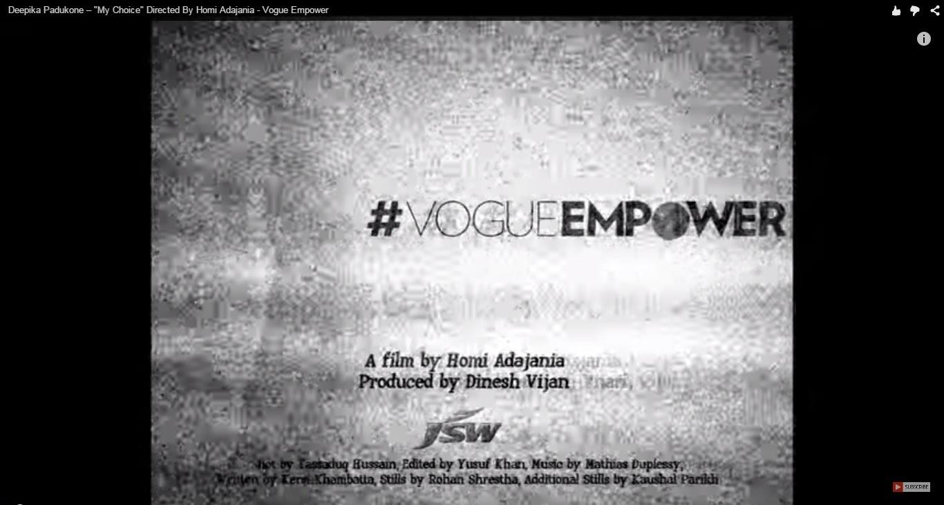 Deepika Padukone - #MyChoice video with Vogue Empower screengrab