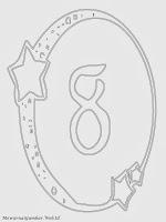 Mewarnai angka 8 bergaya bulan dan bintang