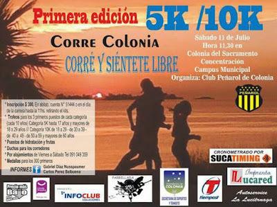 10k y 5k Colonia Corre (Colonia del Sacramento, sáb 11/jul/2015)