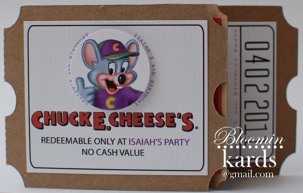 BloominKards Chuck E Cheese Invitations