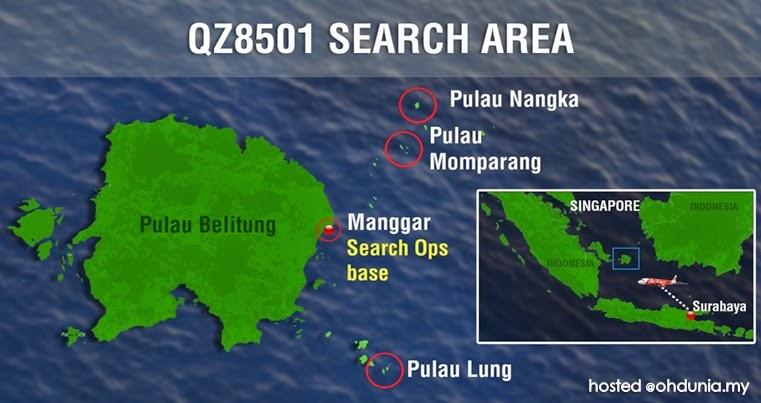 Malaysia ditugas cari pesawat AirAsia QZ8501 di sekitar Pulau Belitung