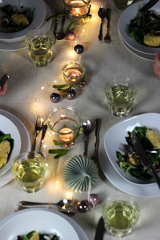 Vegetarisches Weihnachtsmenü, Vorspeise: Wintersalat mit Orangenvinaigrette und Selleriekroketten