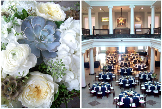 elegant woodsy white bouquets for detroit michigan modern classic fall wedding at university of michigan museum of art UMMA by sweet pea floral design succulent echeveria garden rose seeded eucalyptus scabiosa pods ranunculus navy guest tables art museum wedding ann arbor