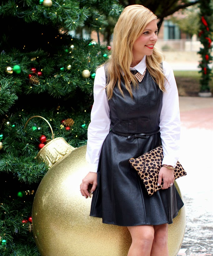 Black Faux leather sleeveless dress