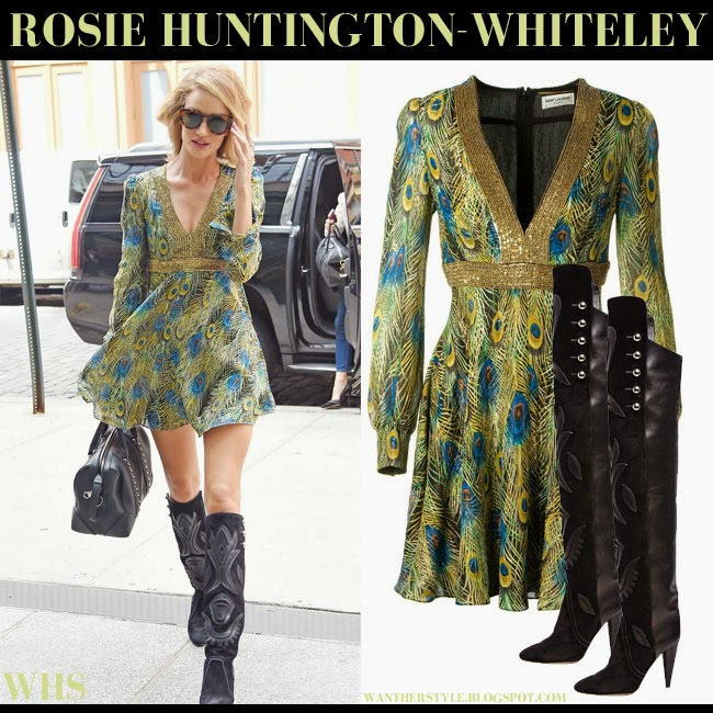 Rosie Huntington-Whiteley in green feather printed mini lame Saint Laurent dress with black suede boots Isabel Marant Becky what she wore may 12 boho 70s streetstyle trend