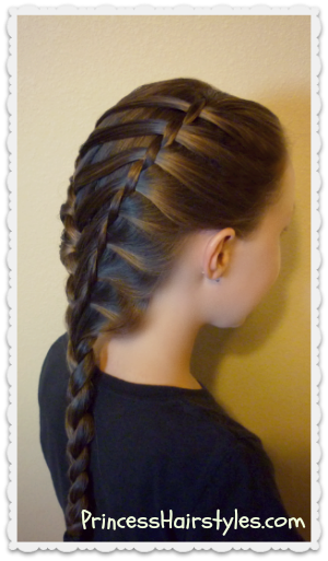 waterfall twist braid and french braid, ladder braid hairstyle